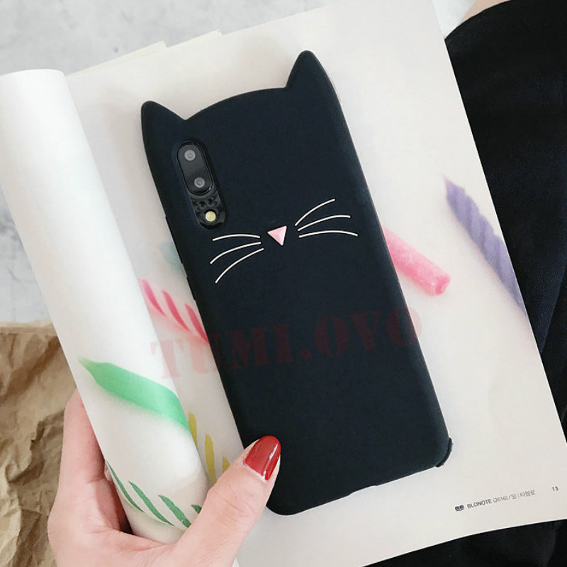 3D Cute Cartoon Black Pink Cat Soft Silicone Phone Cases for Huawei P20 Lite Pro Case for Huawei P8 P9 Lite 2017 P10 Plus Fundas