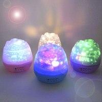 LED Nachtlicht USB Stromversorgung Romantische Rose Knospen Förmigen Dreh Projektorlampe Kinder Kinder Baby Schlafen Nachtlicht Himmel Sterne