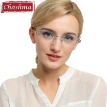 Chashma Brand Tint Lenses Sunglasses Titanium Eyewear Female Diamond Crystal Trimmed Glasses Frame Cat Eye Rimless Glasses Woman