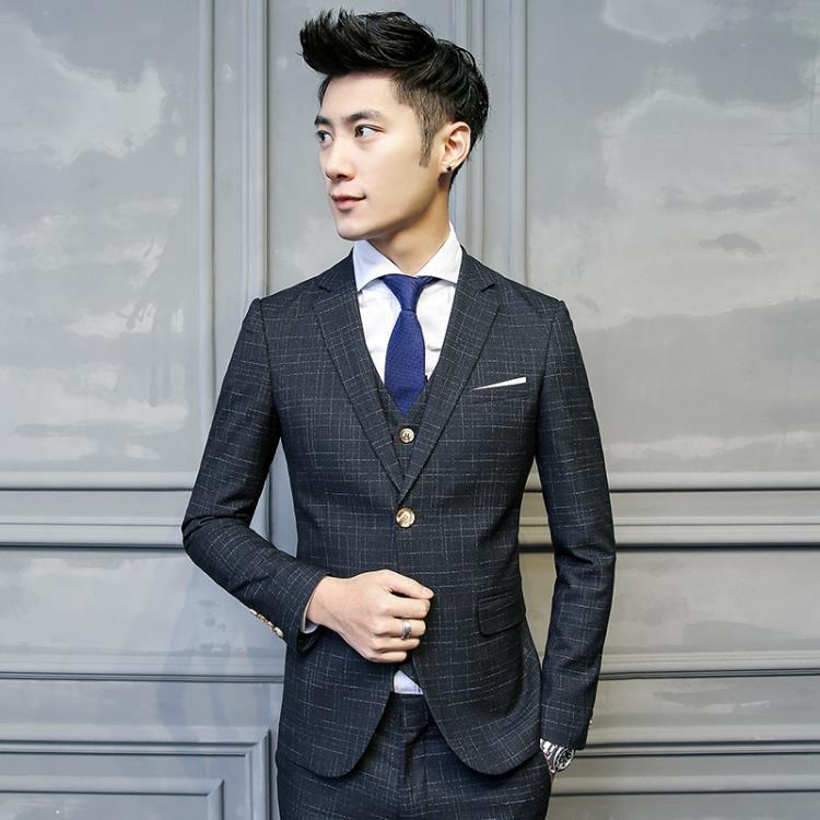 (Jacket+Vest+Pants)2019 New Style Custom Slim Fit Suits Men's Wedding Suits Business Men's Casual Suits Men Striped Three Pieces