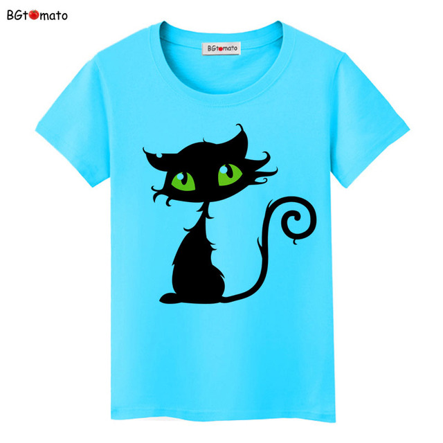 BGtomato Hot sale summer naughty black cat 3D T-shirt women lovely cartoon shirts Good quality original brand tees casual tops
