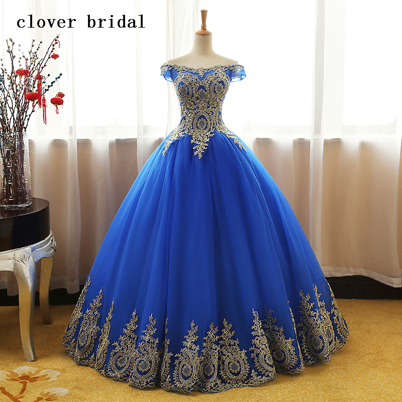 Aqua Blue Quinceanera Dresses Tulle Withh Gold Appliques Lace Sweet 16 Dresses Ball Gown ...