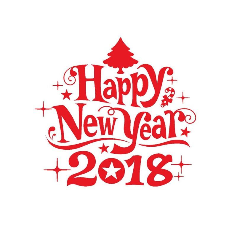 2018 KAKUDER Happy New Year Merry Christmas Tree Wall Sticker Home Shop Windows Decals Decor