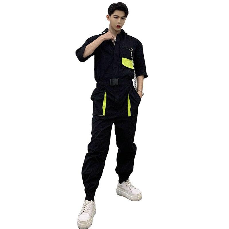 Manga tt23 Metal 1 Casual Pantalón Pantalones De Camiseta Hombres Streetwear Overoles Hop 212 Cadena Mono Harem Nuevos Maletooling Corta Hip qxtUqHIn