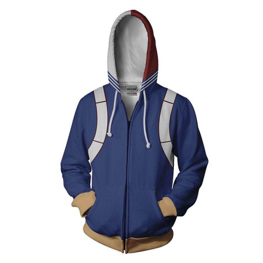 BIANYILONG 2019 New Men Hooded Shoto Todoroki 3D Printed Hoodies Hoody Tracksuit Zipper Hoody Hip Hop Tops Free