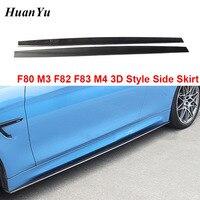 1 пара углеродного волокна сторона юбка для BMW F80 M3 F82 F83 M4 боковые бампера для губ крылья 3D Стиль фартук 2014 2015 2016 2017 2018 украшения