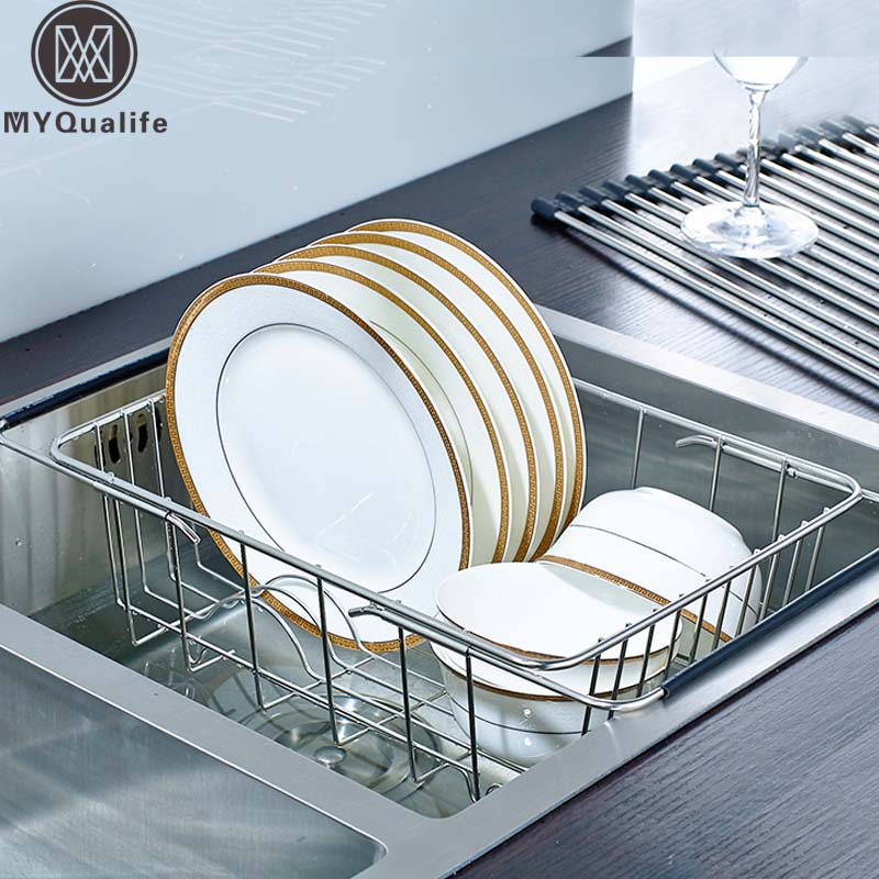 Free Shipping Kitchen Stainless Steel Holder Dish Rack Kitchen Sink Over Rack Bowl Holder Storage Shelf [ fly eagle ]free shipping blue bird over door stainless steel hook holder hanger for kitchen