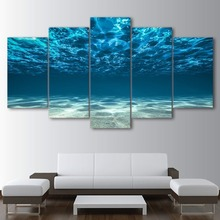 Artworks Canvas Decor Home Room 5 Pieces Marine Scenery Pictures Modular Blue Ocean Poster Frame Paintings HD Printed Wall Art