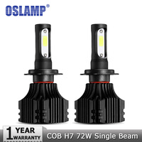 Oslamp COB Chips 72W Pair H7 Plug LED Headlight Car Bulbs 8000LM 6500K 12v 24v Auto