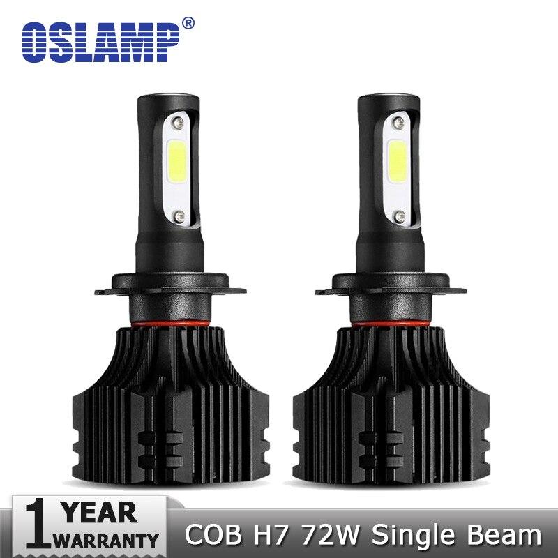 Oslamp COB Chips 72W/pair H7 Plug LED Headlight Car Bulbs 8000LM 6500K 12v 24v Auto Led Headlamp Kits with Cooling Fan Fog Lamps oslamp s5 series 2x 36w h1 led headlight bulbs 6500k white cob chips 2pcs h1 fog lamps all in one led car bulbs with cooling fan