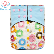 Herbabe 3-15KG Baby Training Pants Diaper Covers Bamboo Fabric Nappy Insert for Newborn Infant Cartoon Adjustable Cloth Diapers jinobaby bamboo aio diapers heavy wetter potty training pants for babies