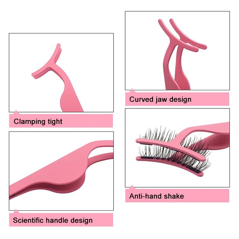 Stainless Steel Magnetic False Eyelash Tweezers Applicator Clip For Women MH88