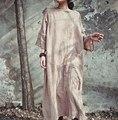 Mulheres de linho de algodão do vintage maxi dress 2016 nova primavera batwing sleeeve pulôver vestido original sólida solto plus size casual dress
