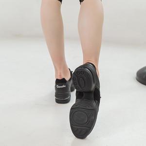 Image 2 - Sansha    Genuine Pig Leather Dance Sneakers Black Comfortable Salsa Jazz Air Cushion  Dance Shoes  H166LPI