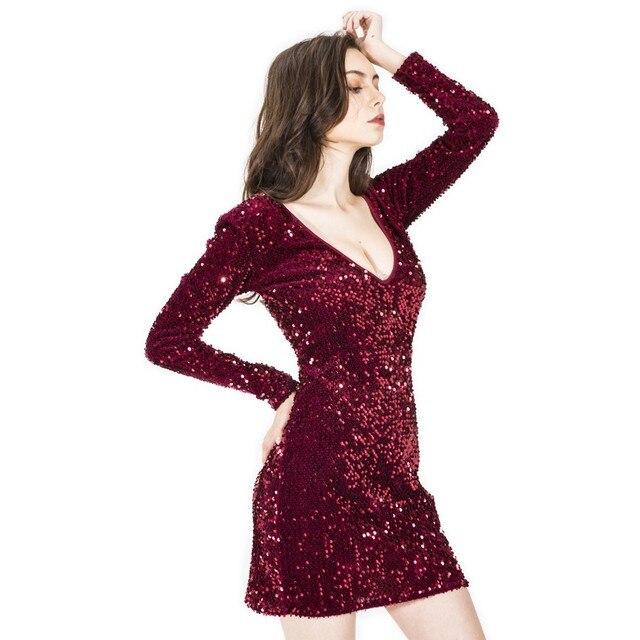 Long Sleeve Sequin Dress Women Sexy Club Dresses 2019 Slim Fit Bodycon  Party Nightclub Mini Vintage Dress Vestido Lentejuelas be0034e55e8d