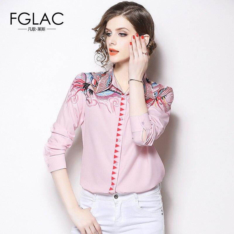 9b84bfd2d7f FGLAC Для женщин с длинным рукавом шифоновая рубашка модная повседневная  офисная блузка рубашка элегантный тонкий печати Для женщин блузки