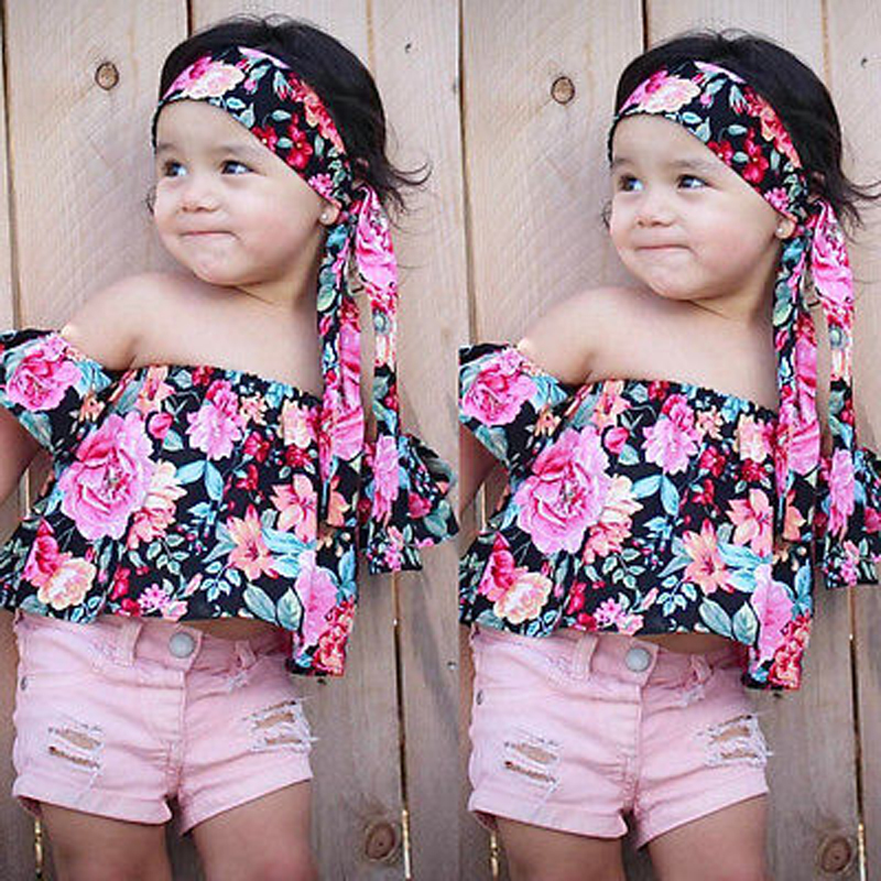 1-6Y Newborn Kids Baby Girls Clothes Set Off Shoulder Floral Tops+Headband 2Pcs Outfits Children Summer Outfits cute newborn baby girl bodysuit headband outfits floral sunsuit clothes flower infnat toddler girls summer 3pcs set playsuit