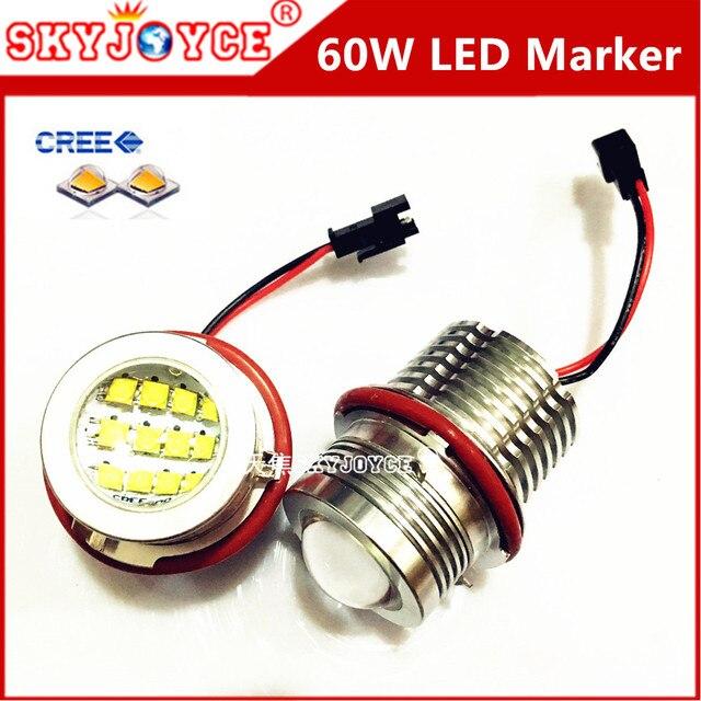 2X 60W CREE LED Marker Angel Eyes XENON White E53 E60 E61 E63 E64 E65 E87 E39 marker led DRL halo ring car styling accessory