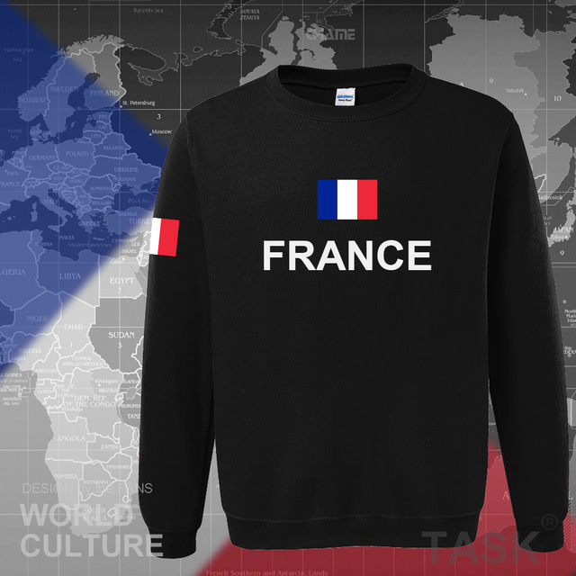 France hoodies men sweatshirt sweat new hip hop streetwear clothing jerseys FRA loose tracksuit nation French flag fleece FR 1