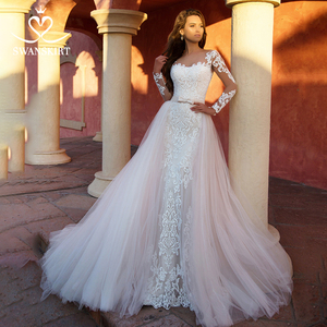 Image 1 - Detachable Train  2 in 1 Wedding Dress 2020 Appliques Long Sleeve Mermaid Bridal Gown Princess Swanskirt  K118 Vestido De Noiva