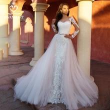 Odpinany pociąg 2 w 1 suknia ślubna 2020 aplikacje z długim rękawem suknia ślubna syrenka księżniczka Swanskirt K118 Vestido De Noiva