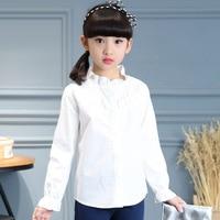 Baby Big Girl Shirt Long Sleeve Tops Cotton Ruffles Mandarin Collar White Shirt 8 9 10