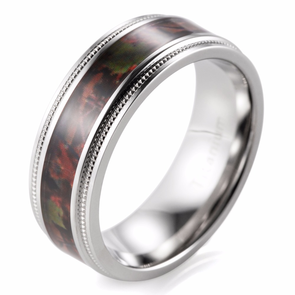 8mm Mens Camo Wedding Ring Titanium Milgrain Edges Camo wedding