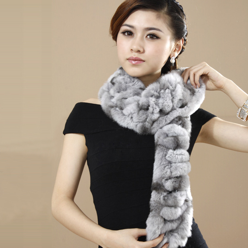 YCFUR Classic Style Women Winter   Scarves     Wraps   Handmade Real Rex Rabbit Fur Neck   Scarf   Ladies Warm Fur Winter Scarfs Female