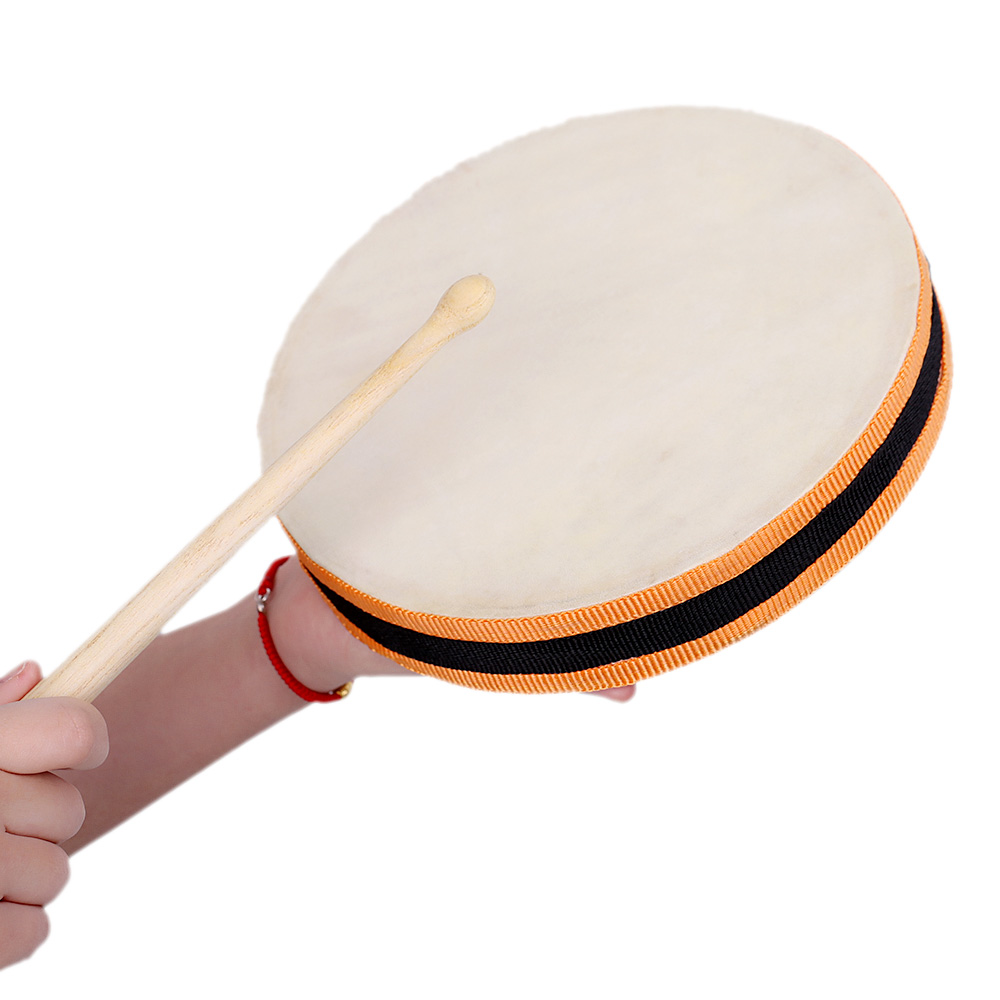 8 wood hand drum dual head with drum stick percussion musical educational toy instrument for. Black Bedroom Furniture Sets. Home Design Ideas