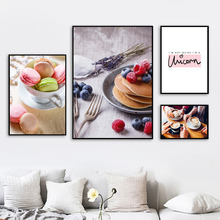 Macaron Cake Coffee Quotes Wall Art Canvas Painting Nordic Posters And Prints Pictures For Living Room Girl Kids Decor