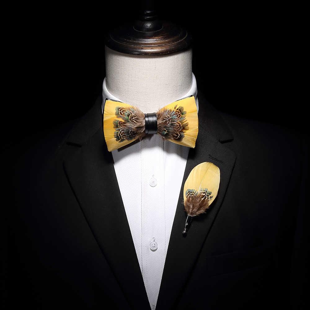 Kamberft novidade artesanal 31 cores cor sólida preto vermelho pena laço broche presente conjunto festa de casamento masculino moda gravata