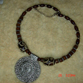 Tibet Nepal ethnic jewelry wholesale wooden bead alloy medal necklace C-011