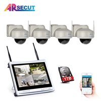 ARSECUT Plug Play 4CH 960P Wireless Camera Surveillance System12 LCD NVR Kit 1080P HD Outdoor IR