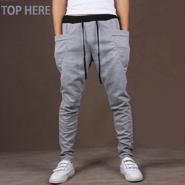7ddbc5d13 Homens Calça Casual Cool Design Moletom Bolso Grande Top Aqui Roupas de  Marca Calças Hip Hop