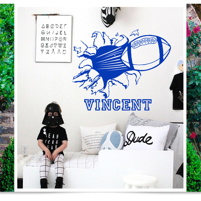 Custom Name Quote Vinyl Rugby Football Wall Sticker Removable Sports DIY Wall Decals For Playground Shop Bar Club