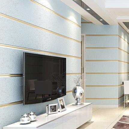 Papier peint 3D Non-tissé moderne minimaliste rayé imperméable lavable chambre salon TV fond papier peint