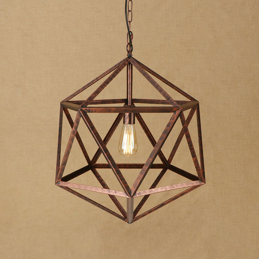 Industrial vintage pendant lights dia 55cm black rust color Geometric iron lampshade Loft Warehouse restaurant hanging lamps loft style vintage pendant lamp iron industrial retro pendant lamps restaurant bar counter hanging chandeliers cafe room