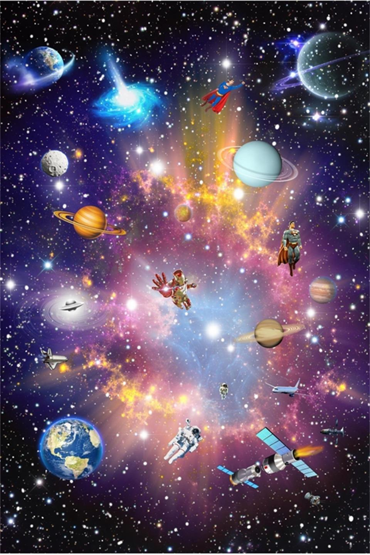 Custom Mural 3d Bintang Nebula Langit Malam Lukisan Dinding Langit