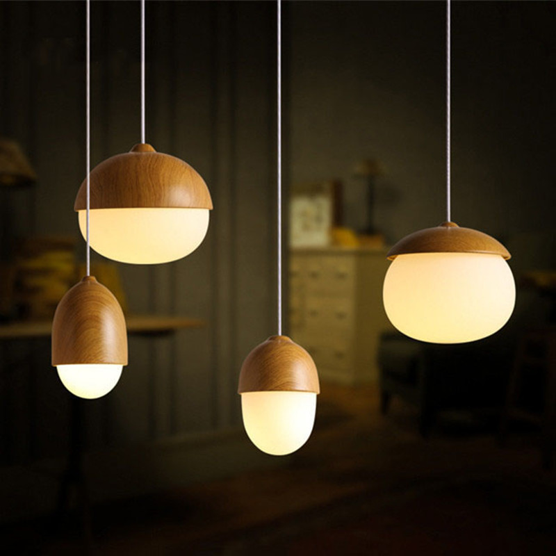 Simple Nordic Creative Wood Glass Nuts Pendant Light LED Home Indoor Lighting Fixtures Hang Lamp for Bedroom Living Room Lights fumat stained glass table lamp high quality goddess lamp art collect creative home docor table lamp living room light fixtures
