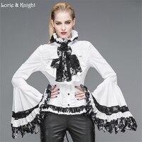 Ретро черный/белый с длинными расклешенными рукавами готический, викторианской эпохи для женщин Блузка Топы корректирующие