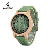 ボボ鳥新しいファッション竹ウッド腕時計で柔らかいシリコーンストラップクォーツムーブメント腕時計用女