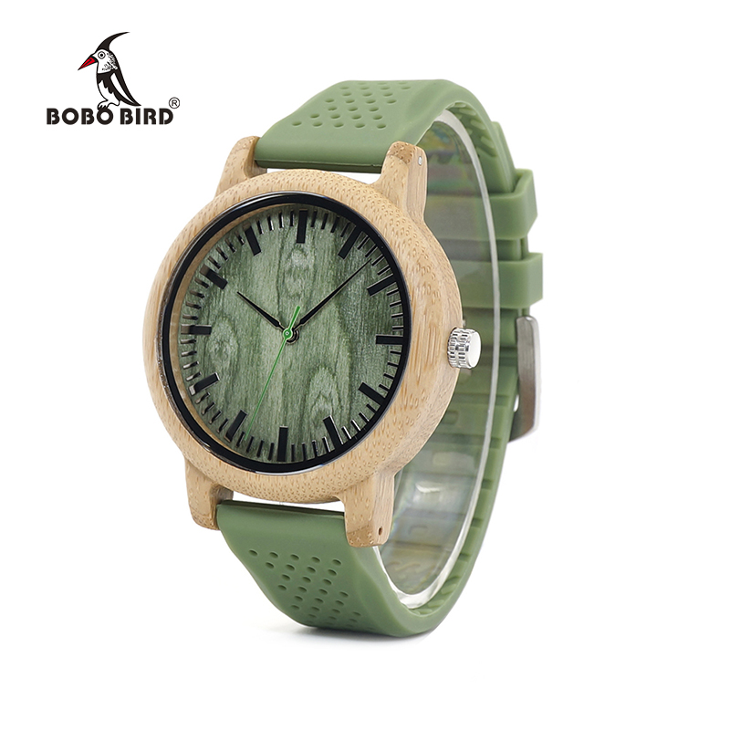 BOBO BIRD Men's Fashion Bamboo Wood Watches With Soft Silicone Straps Quartz Movement Watch Women in Gift Boxes LaB06 bobo bird bamboo wood quartz watch men women japanese majoy movement soft silicone strap casual ladies watch wristwatch for gift