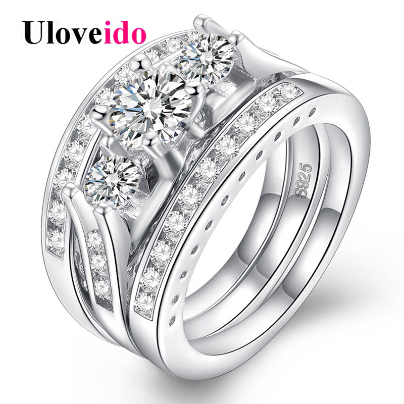 Uloveido Wedding Rings for Women Engagement Ring with Stone 3 Pcs Female Ring Set Cubic Zirconia Jewelry Decorating Gifts RA0137