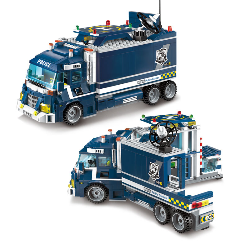 Models Building Toy 1918 City Series Mobile Police Station