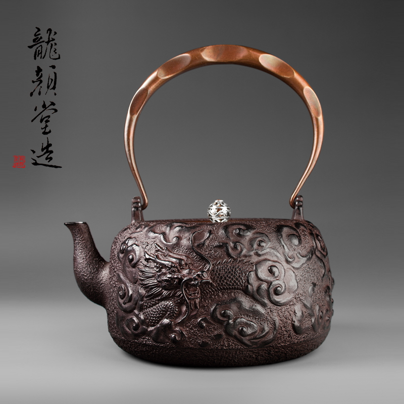South Of Japan No Coated Top Grade Cast Iron Pot 1600ml Large Capacity of The Old Japan Cloud-dragon Iron Pots Boil Tea Kettle