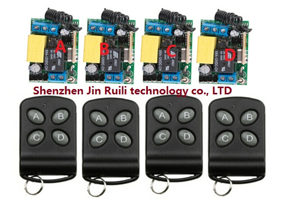 RF AC 220 V 1 CH 10 A Wireless remote control switch System 4 piece Transmitter +4 piece Receiver for Access/door System