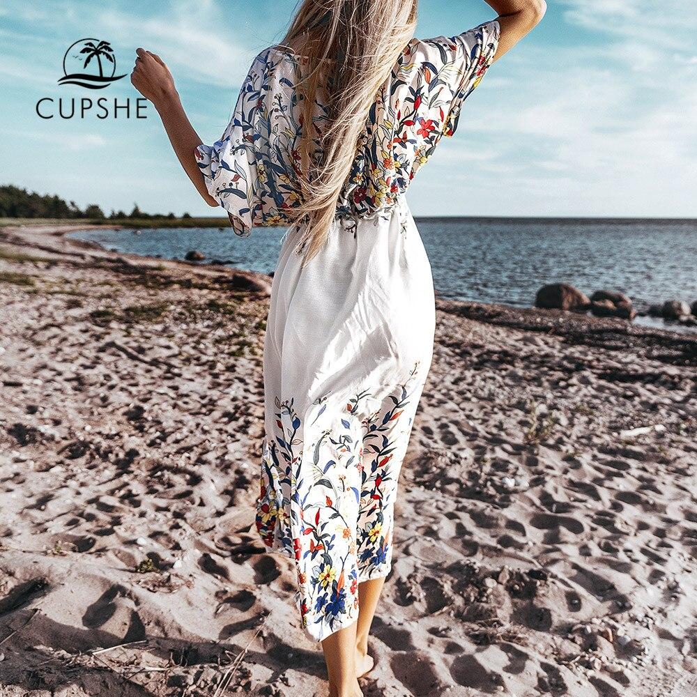 CUPSHE Wildflower Midi Bikini Cover Up Sexy Lace Up Women Long Dress Capes 2020 Summer Beach Bathing Suit Beachwear