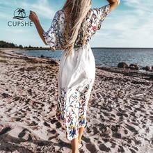 CUPSHE kır çiçeği Midi Bikini Cover Up seksi dantel kadın uzun elbise pelerinler 2020 yaz plaj mayo Beachwear