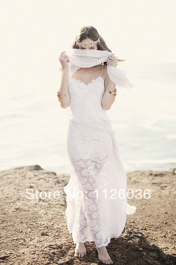 Free shipping sexy spaghetti strap breathtaking beach lace for Spaghetti strap wedding dress low back