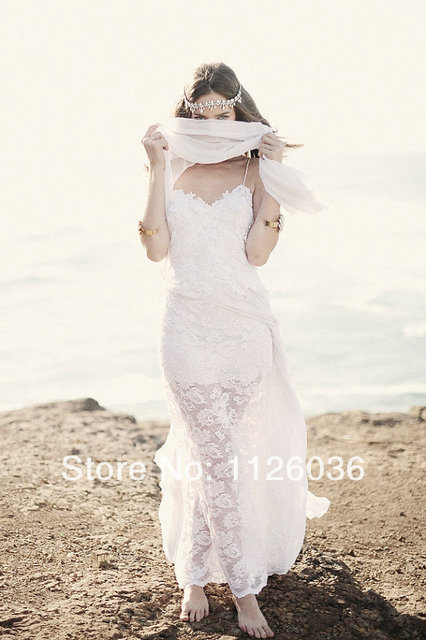 Free shipping sexy spaghetti strap breathtaking beach lace for Beach wedding dress low back